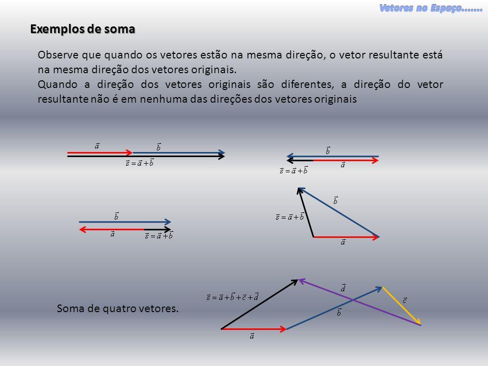 Exemplos de soma Observe que quando os vetores estão na mesma direção, o vetor resultante está na mesma direção dos vetores originais.