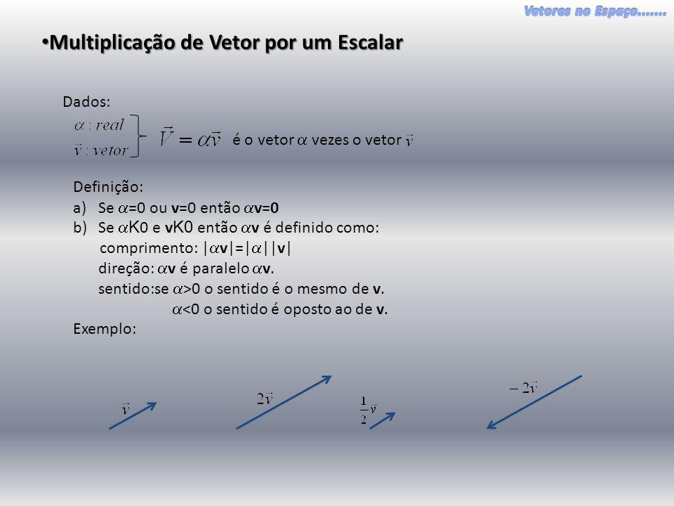 • Multiplicação de Vetor por um Escalar Dados: é o vetor  vezes o vetor Definição: a)Se  =0 ou v=0 então  v=0 b)Se  K 0 e v K0 então  v é definido como: comprimento: |  v|=|  ||v| direção:  v é paralelo  v.