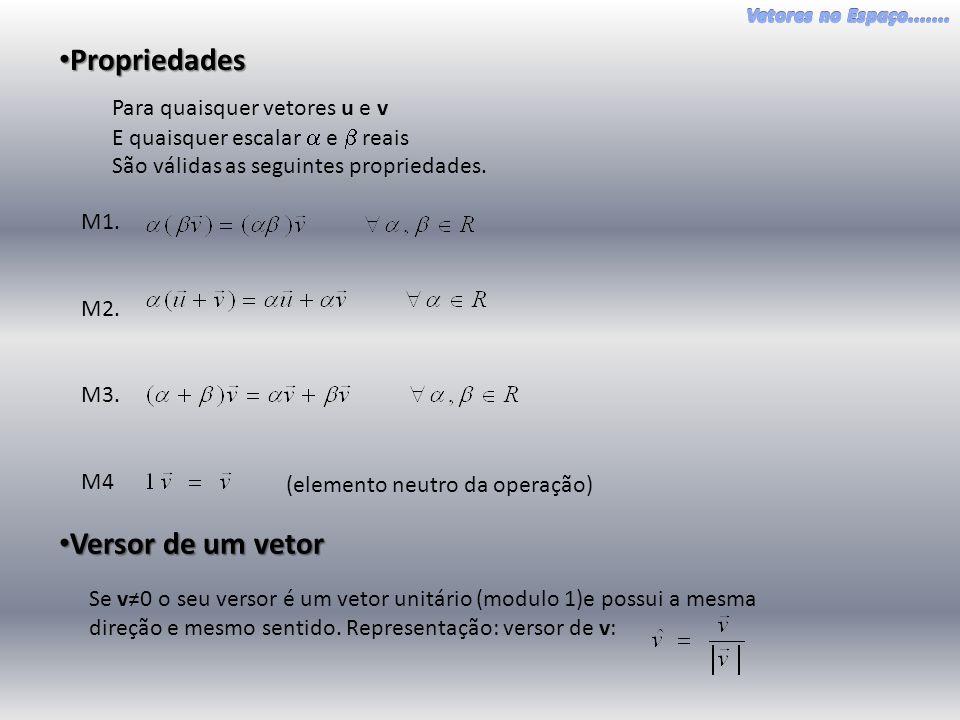 • Propriedades Para quaisquer vetores u e v E quaisquer escalar  e  reais São válidas as seguintes propriedades.