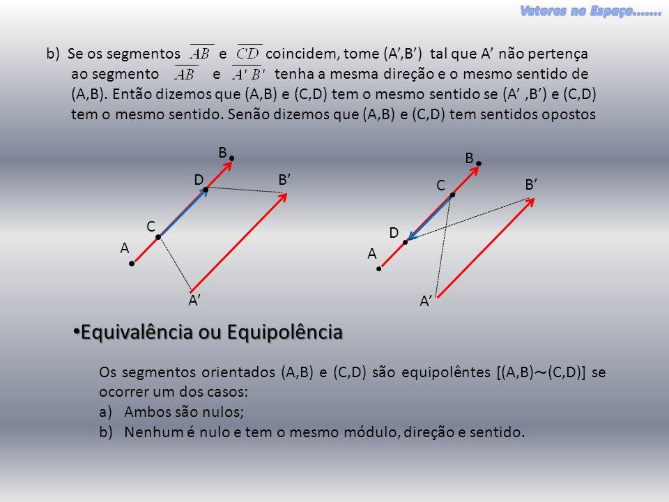 A B C D E F G H I J K L • Proposições: Propriedades da Equipolência a)(A,B) ~ (A,B) Reflexiva b)(A,B) ~ (C,D)→(C,D) ~ (A,B) Simétrica c)(A,B) ~ (C,D) e (C,D) ~ (E,F) → (A,B) ~ (E,F) Transitiva Exercício: Demonstrar as proposições acima