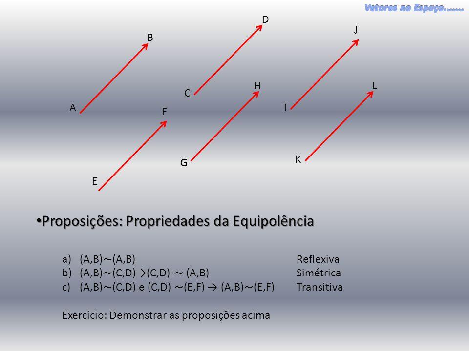 A B C D E F G H I J K L Definição: Definição: Dado o segmento orientado (A,B), a classe de equipolência (A,B) é o conjunto de todos os segmentos orientados equipôlentes a (A,B).