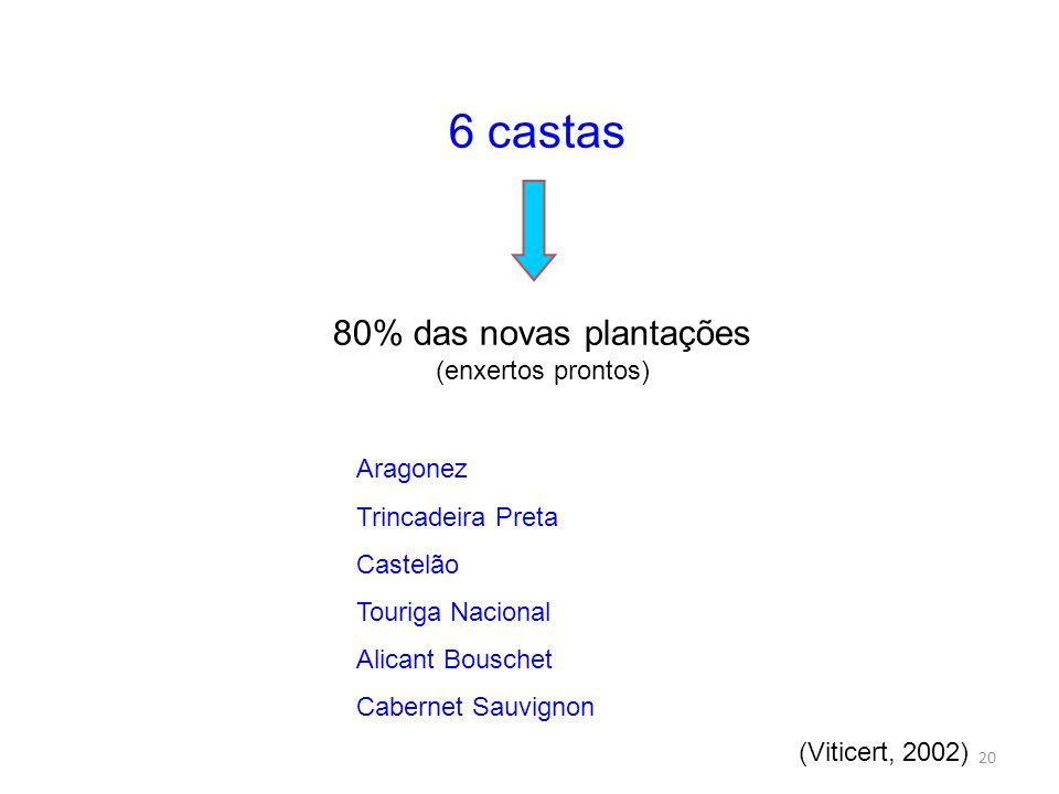 20 6 castas 80% das novas plantações (enxertos prontos) Aragonez Trincadeira Preta Castelão Touriga Nacional Alicant Bouschet Cabernet Sauvignon (Viticert, 2002)
