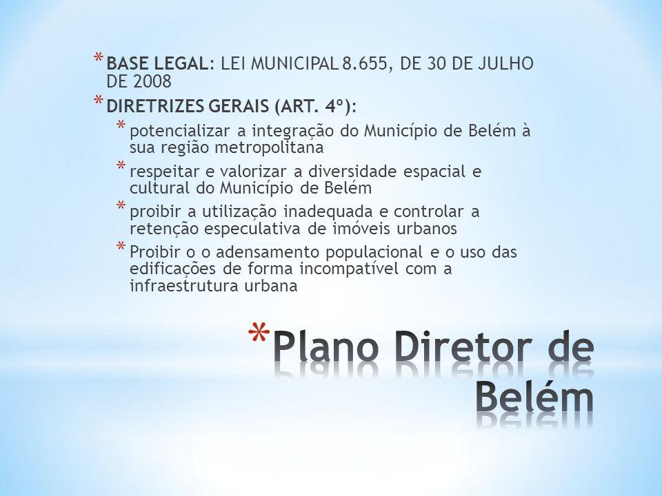 * BASE LEGAL: LEI MUNICIPAL 8.655, DE 30 DE JULHO DE 2008 * DIRETRIZES GERAIS (ART. 4º): * potencializar a integração do Município de Belém à sua regi