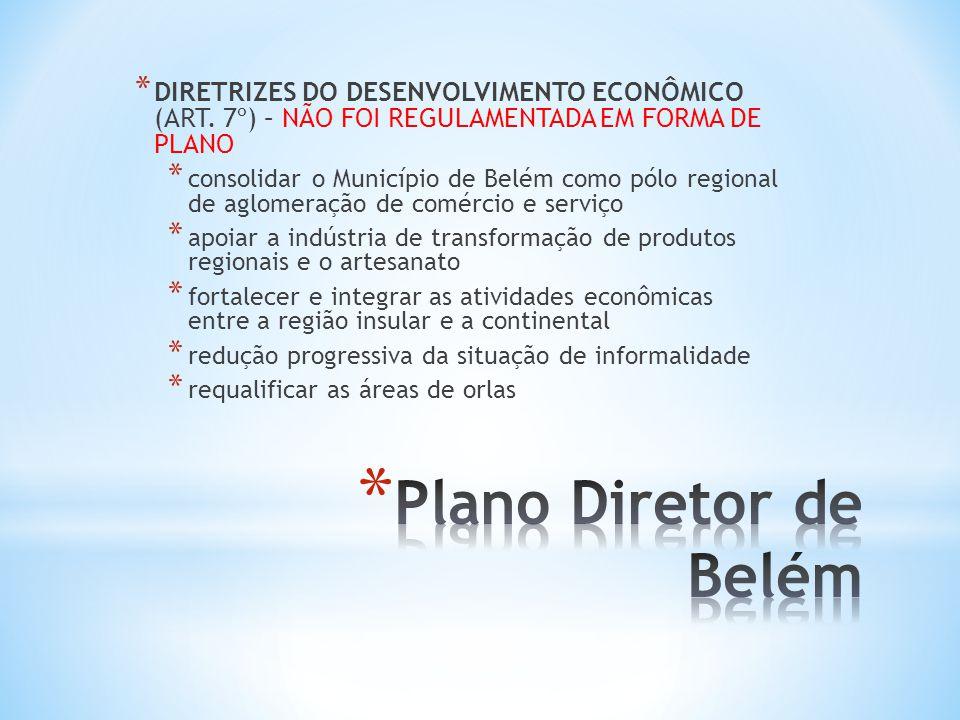 * DIRETRIZES DO DESENVOLVIMENTO ECONÔMICO (ART. 7º) – NÃO FOI REGULAMENTADA EM FORMA DE PLANO * consolidar o Município de Belém como pólo regional de