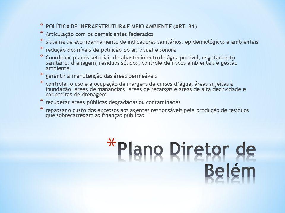 * POLÍTICA DE INFRAESTRUTURA E MEIO AMBIENTE (ART. 31) * Articulação com os demais entes federados * sistema de acompanhamento de indicadores sanitári