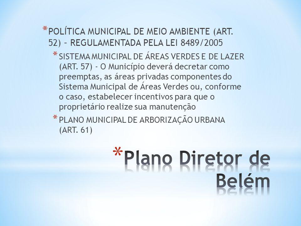 * POLÍTICA MUNICIPAL DE MEIO AMBIENTE (ART. 52) – REGULAMENTADA PELA LEI 8489/2005 * SISTEMA MUNICIPAL DE ÁREAS VERDES E DE LAZER (ART. 57) - O Municí