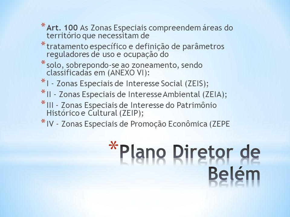 * Art. 100 As Zonas Especiais compreendem áreas do território que necessitam de * tratamento específico e definição de parâmetros reguladores de uso e