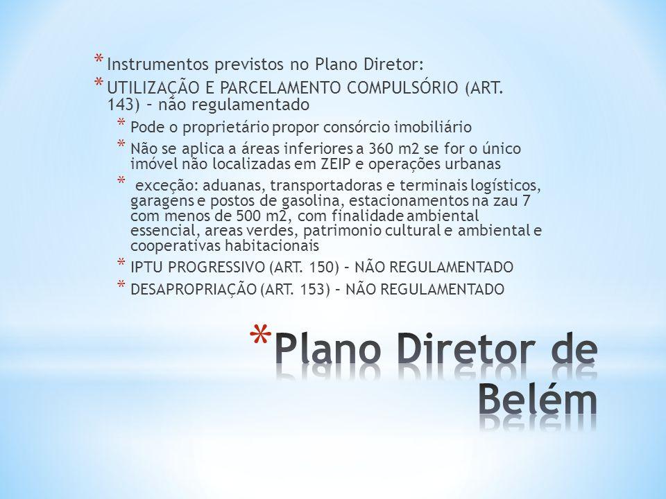 * Instrumentos previstos no Plano Diretor: * UTILIZAÇÃO E PARCELAMENTO COMPULSÓRIO (ART. 143) – não regulamentado * Pode o proprietário propor consórc