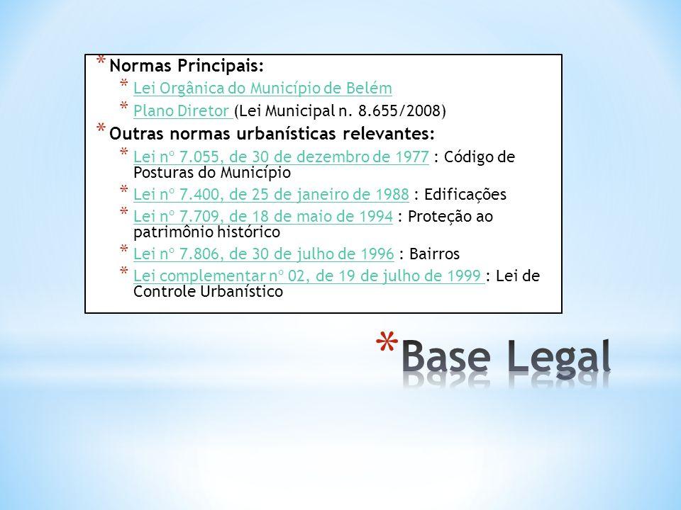 * Normas Principais: * Lei Orgânica do Município de Belém Lei Orgânica do Município de Belém * Plano Diretor (Lei Municipal n. 8.655/2008) Plano Diret