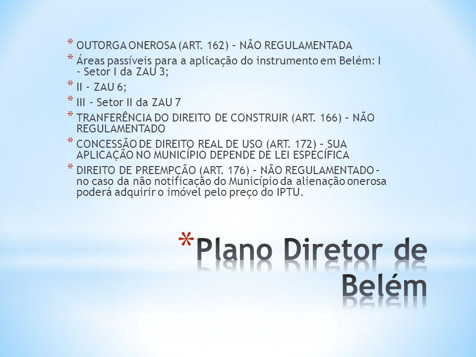 * OUTORGA ONEROSA (ART. 162) – NÃO REGULAMENTADA * Áreas passíveis para a aplicação do instrumento em Belém: I - Setor I da ZAU 3; * II - ZAU 6; * III