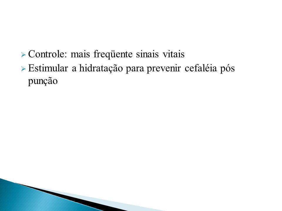  Controle: mais freqüente sinais vitais  Estimular a hidratação para prevenir cefaléia pós punção