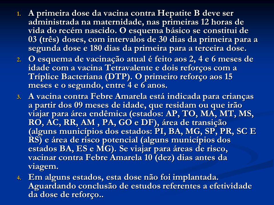 1. A primeira dose da vacina contra Hepatite B deve ser administrada na maternidade, nas primeiras 12 horas de vida do recém nascido. O esquema básico