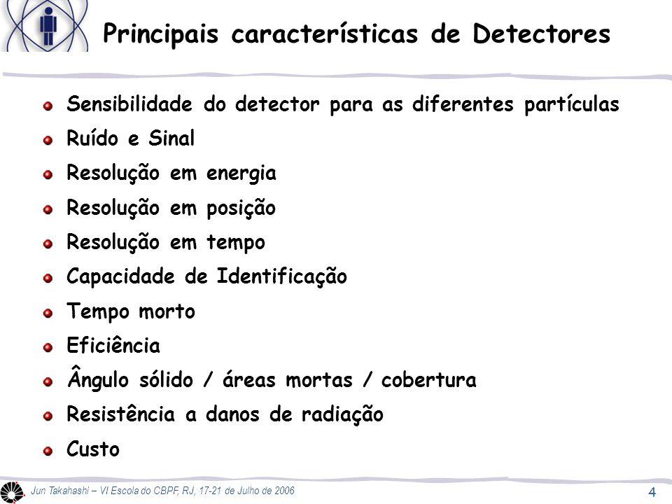 5 Jun Takahashi – VI Escola do CBPF, RJ, 17-21 de Julho de 2006 Índice da Aula 03: Detectores pré-era elétrica Detectores a gás  Câmara de Ionização  Contador Proporcional  Contador Geiger Detectores Cintiladores Detectores Semicondutores