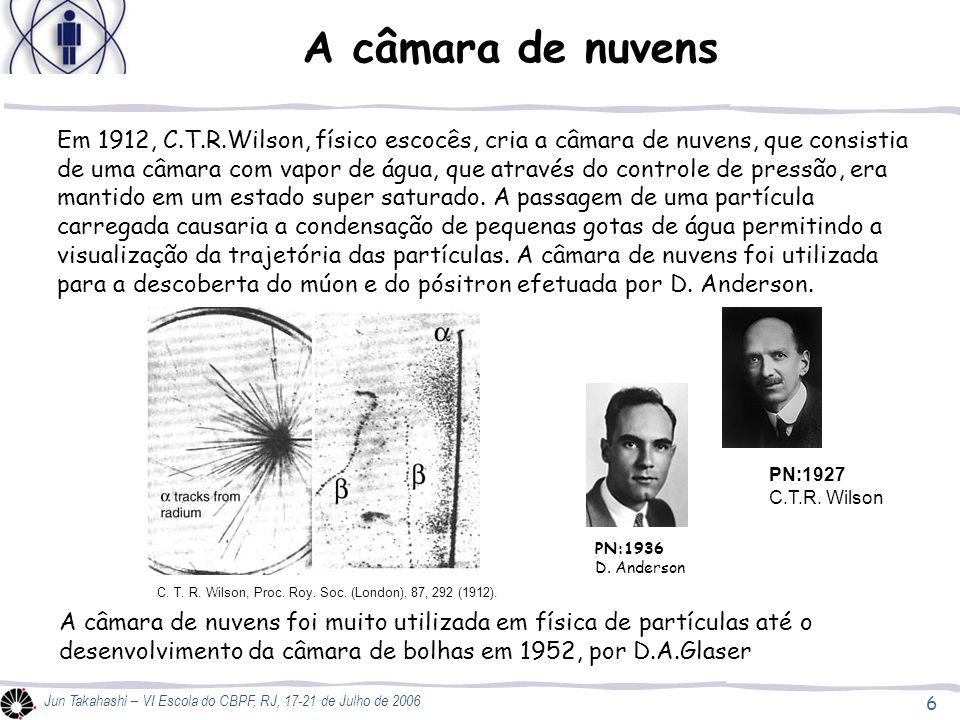 7 Jun Takahashi – VI Escola do CBPF, RJ, 17-21 de Julho de 2006 Câmara de nuvens Câmaras de nuvens hoje podem ser produzidas nas escolas como um instrumento didático que demonstra o funcionamento de detectores e permite a visualização de partículas sub-atômicas, múons e elétrons provenientes de raios cósmicos.