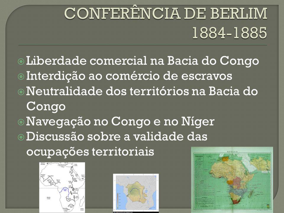 Liberdade comercial na Bacia do Congo  Interdição ao comércio de escravos  Neutralidade dos territórios na Bacia do Congo  Navegação no Congo e no Níger  Discussão sobre a validade das ocupações territoriais