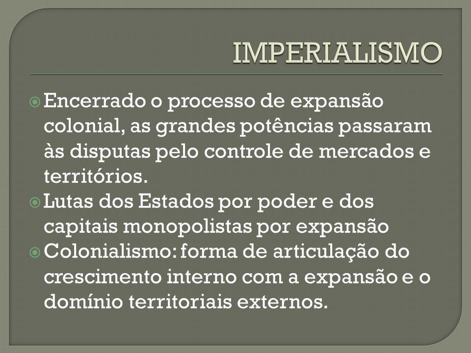  Encerrado o processo de expansão colonial, as grandes potências passaram às disputas pelo controle de mercados e territórios.