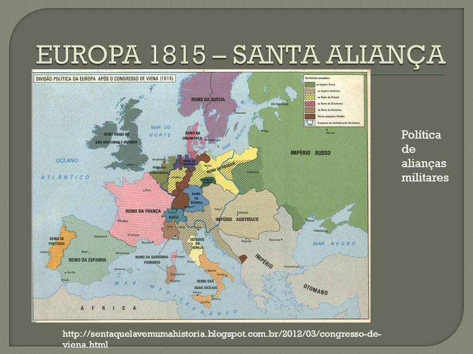 http://sentaquelavemumahistoria.blogspot.com.br/2012/03/congresso-de- viena.html Política de alianças militares