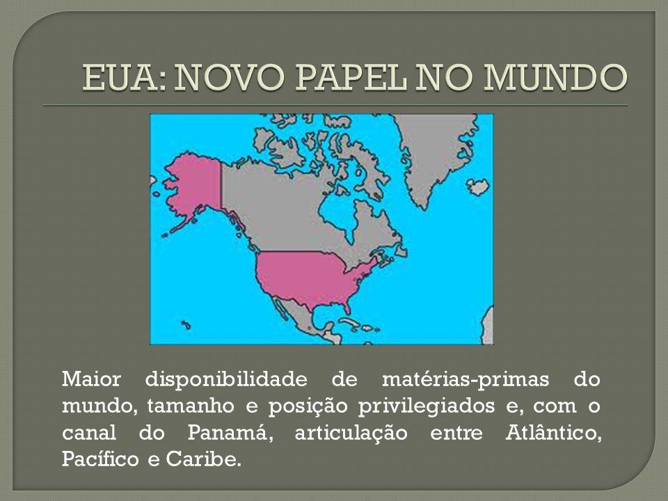 Maior disponibilidade de matérias-primas do mundo, tamanho e posição privilegiados e, com o canal do Panamá, articulação entre Atlântico, Pacífico e Caribe.