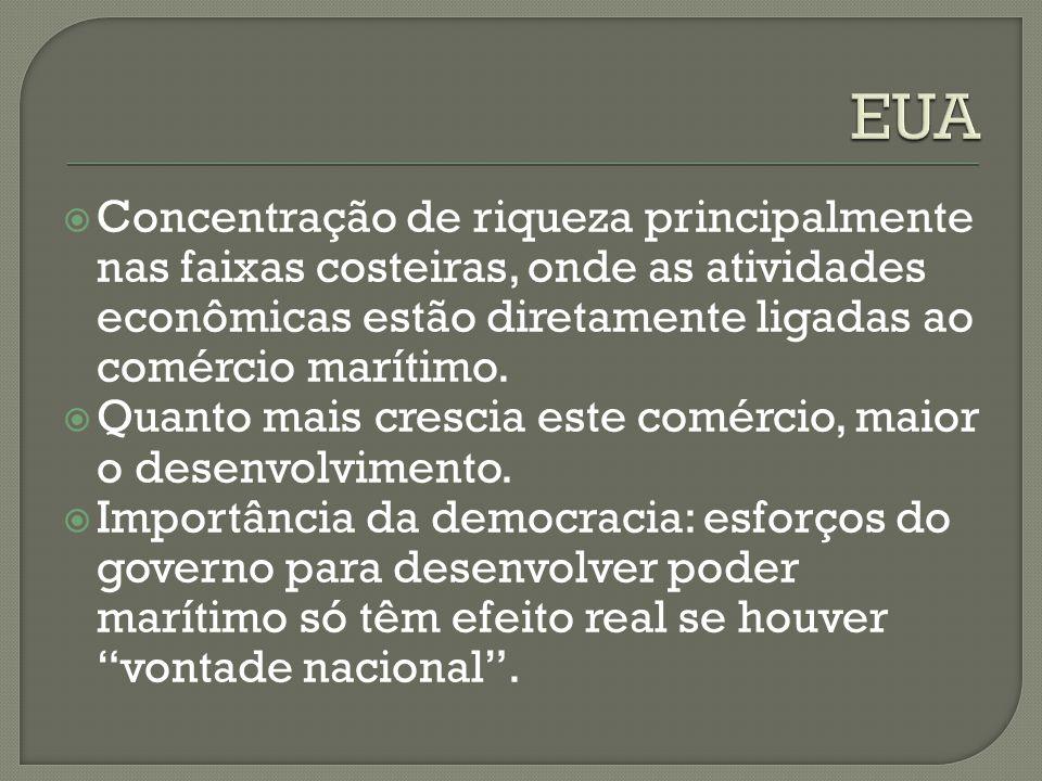  Concentração de riqueza principalmente nas faixas costeiras, onde as atividades econômicas estão diretamente ligadas ao comércio marítimo.