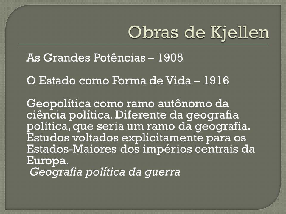 As Grandes Potências – 1905 O Estado como Forma de Vida – 1916 Geopolítica como ramo autônomo da ciência política.
