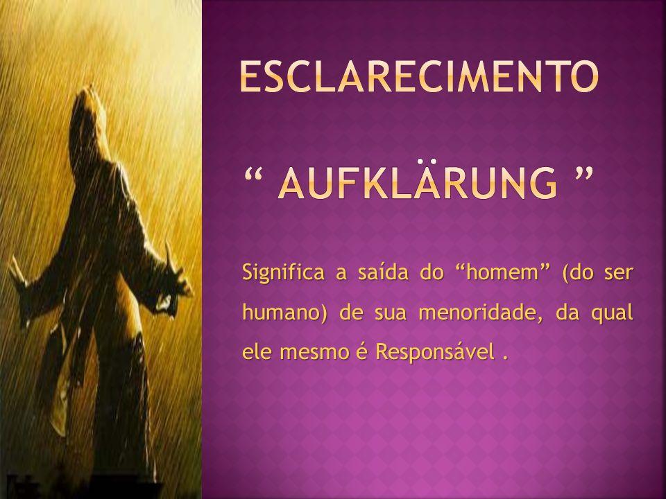 Significa a saída do homem (do ser humano) de sua menoridade, da qual ele mesmo é Responsável.
