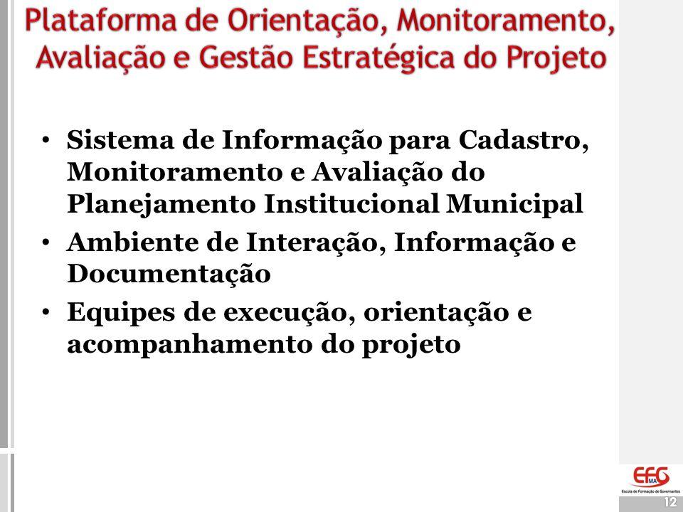 12 • Sistema de Informação para Cadastro, Monitoramento e Avaliação do Planejamento Institucional Municipal • Ambiente de Interação, Informação e Docu
