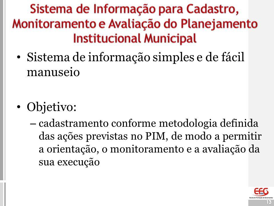 13 • Sistema de informação simples e de fácil manuseio • Objetivo: – cadastramento conforme metodologia definida das ações previstas no PIM, de modo a