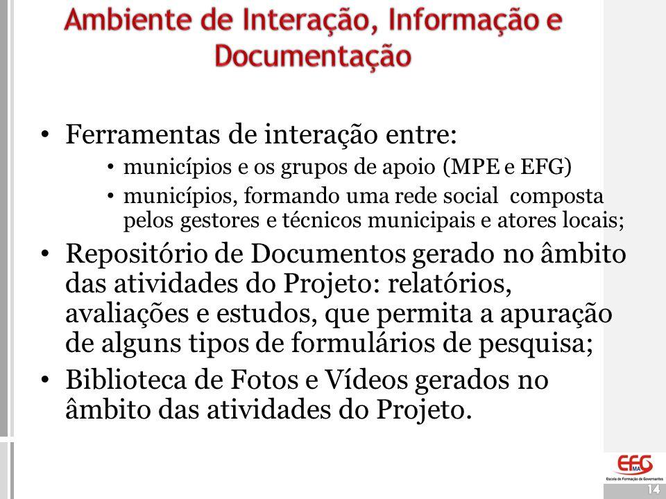 14 • Ferramentas de interação entre: • municípios e os grupos de apoio (MPE e EFG) • municípios, formando uma rede social composta pelos gestores e té
