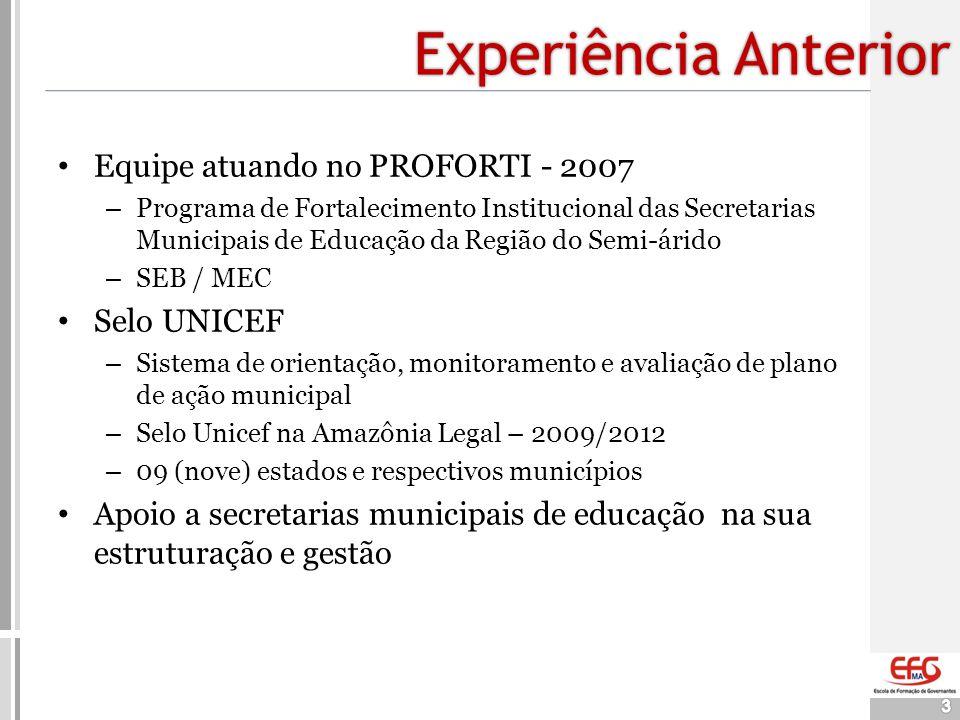 Experiência Anterior 3 • Equipe atuando no PROFORTI - 2007 – Programa de Fortalecimento Institucional das Secretarias Municipais de Educação da Região