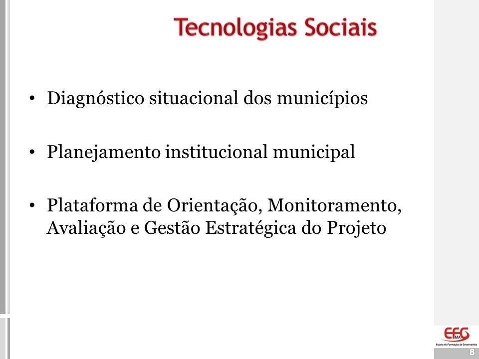 8 • Diagnóstico situacional dos municípios • Planejamento institucional municipal • Plataforma de Orientação, Monitoramento, Avaliação e Gestão Estrat