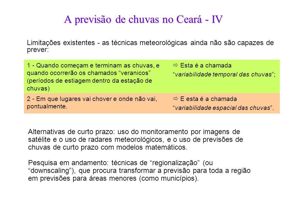 A previsão de chuvas no Ceará - IV Alternativas de curto prazo: uso do monitoramento por imagens de satélite e o uso de radares meteorológicos, e o us