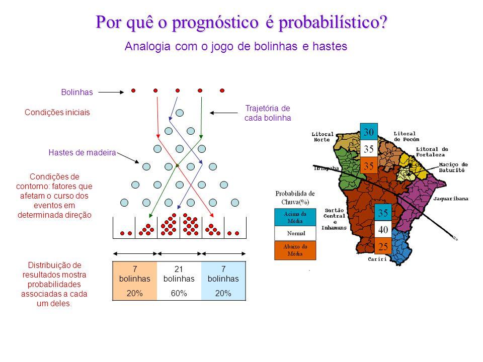 Por quê o prognóstico é probabilístico? Analogia com o jogo de bolinhas e hastes Condições iniciais Condições de contorno: fatores que afetam o curso