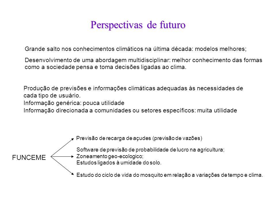 Perspectivas de futuro FUNCEME Previsão de recarga de açudes (previsão de vazões) Software de previsão de probabilidade de lucro na agricultura; Zonea