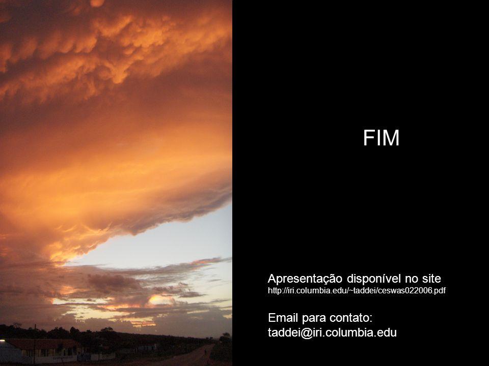 FIM Apresentação disponível no site http://iri.columbia.edu/~taddei/ceswas022006.pdf Email para contato: taddei@iri.columbia.edu