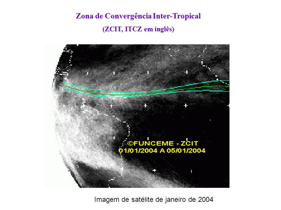 Zona de Convergência Inter-Tropical (ZCIT, ITCZ em inglês) Imagem de satélite de janeiro de 2004