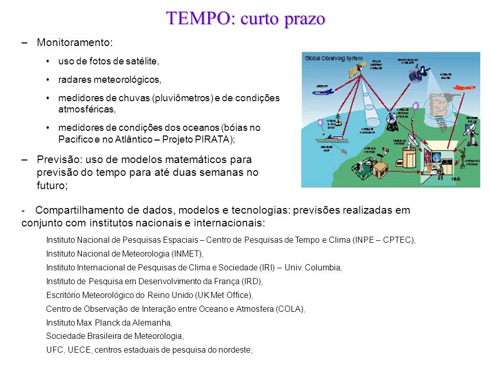 –Monitoramento: •uso de fotos de satélite, •radares meteorológicos, •medidores de chuvas (pluviômetros) e de condições atmosféricas, •medidores de con
