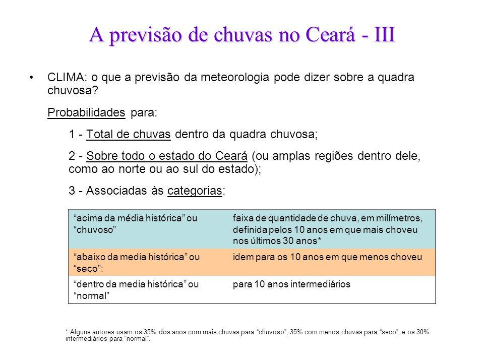 A previsão de chuvas no Ceará - III •CLIMA: o que a previsão da meteorologia pode dizer sobre a quadra chuvosa? Probabilidades para: 1 - Total de chuv