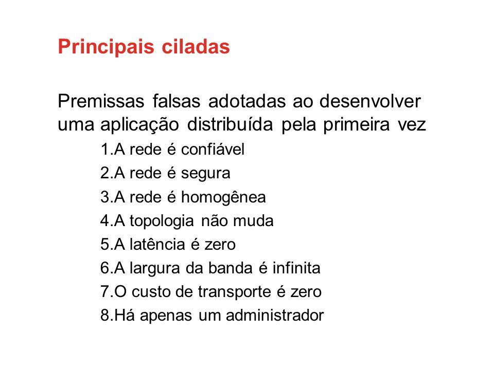 Principais ciladas Premissas falsas adotadas ao desenvolver uma aplicação distribuída pela primeira vez 1.A rede é confiável 2.A rede é segura 3.A red
