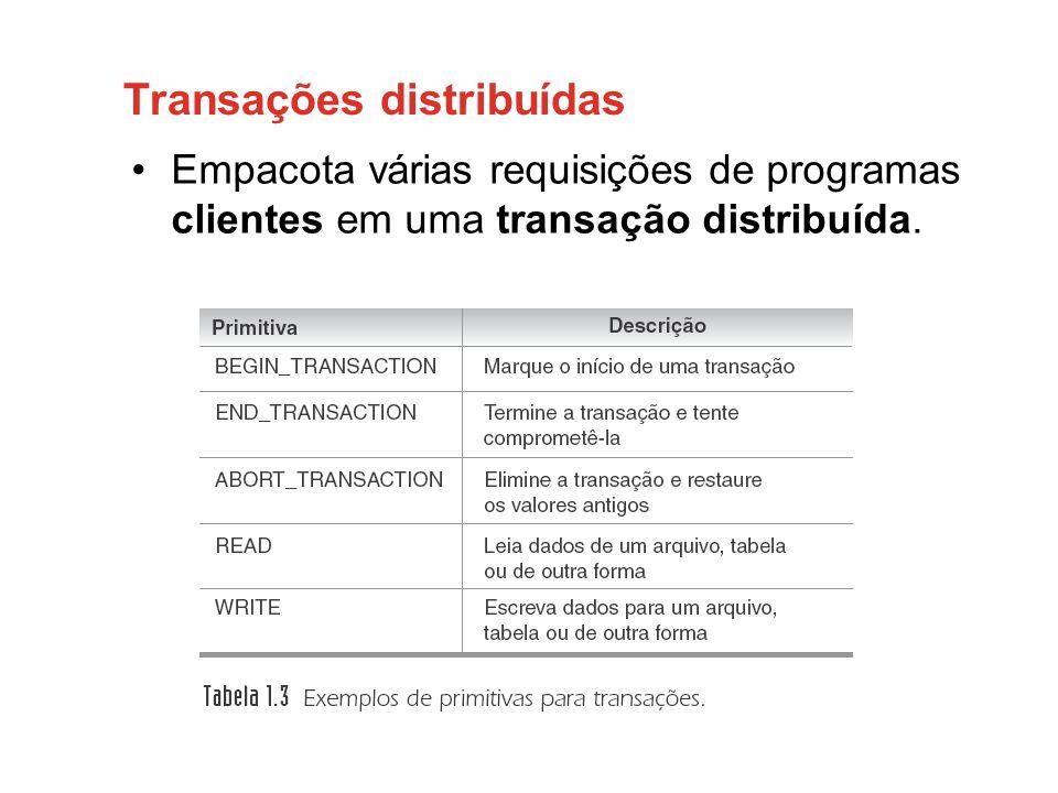 Transações distribuídas •Empacota várias requisições de programas clientes em uma transação distribuída.