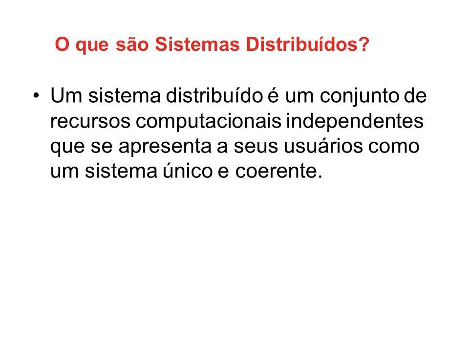 O que são Sistemas Distribuídos? •Um sistema distribuído é um conjunto de recursos computacionais independentes que se apresenta a seus usuários como