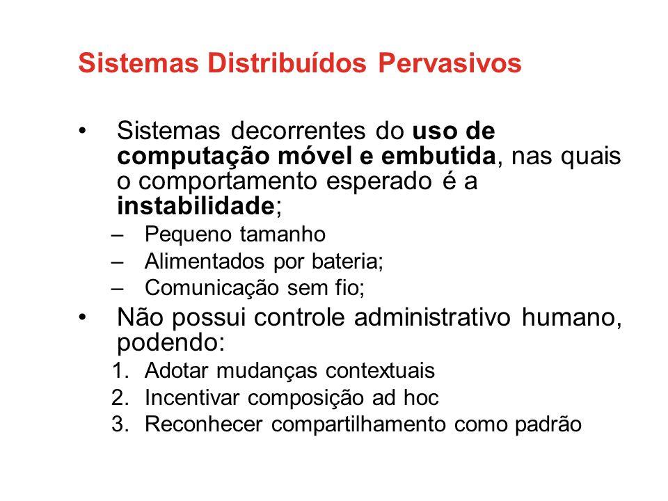 Sistemas Distribuídos Pervasivos •Sistemas decorrentes do uso de computação móvel e embutida, nas quais o comportamento esperado é a instabilidade; –P