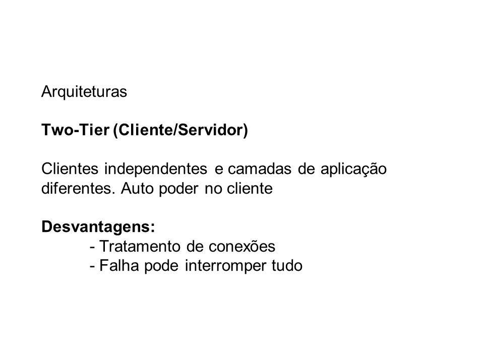 Arquiteturas Two-Tier (Cliente/Servidor) Clientes independentes e camadas de aplicação diferentes. Auto poder no cliente Desvantagens: - Tratamento de