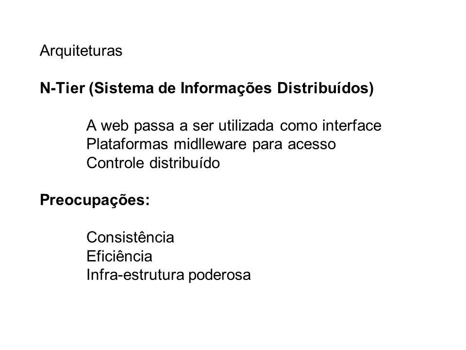 Arquiteturas N-Tier (Sistema de Informações Distribuídos) A web passa a ser utilizada como interface Plataformas midlleware para acesso Controle distribuído Preocupações: Consistência Eficiência Infra-estrutura poderosa