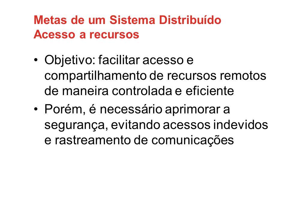 Metas de um Sistema Distribuído Acesso a recursos •Objetivo: facilitar acesso e compartilhamento de recursos remotos de maneira controlada e eficiente