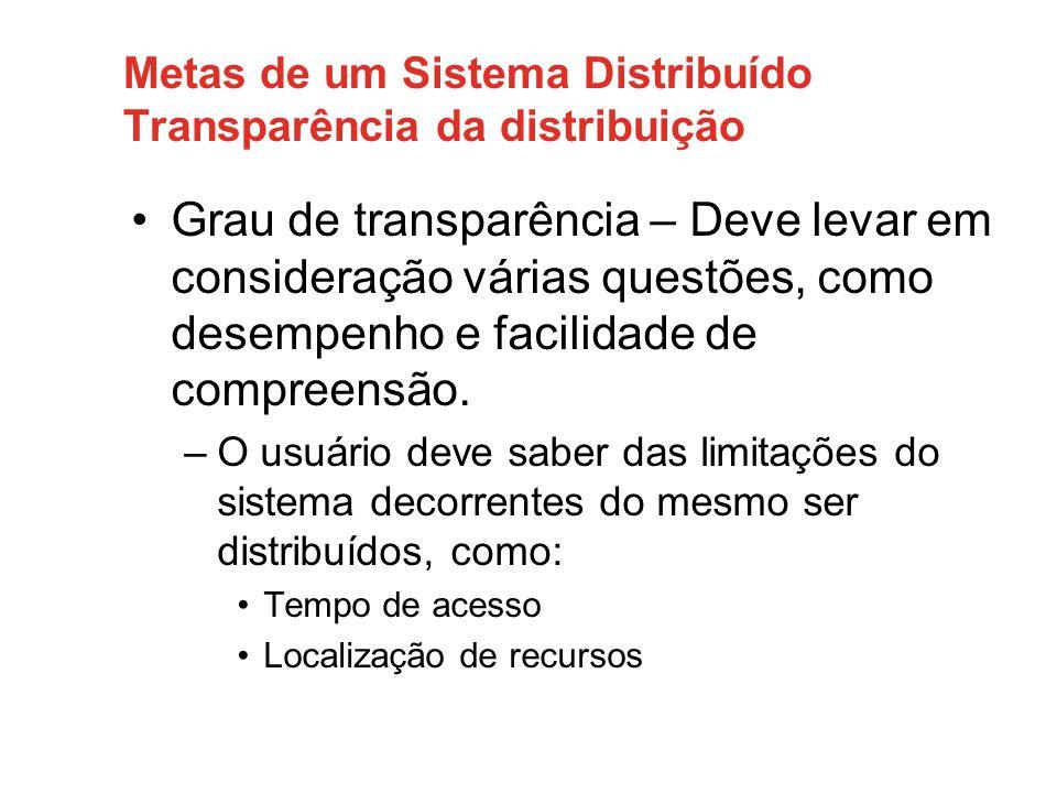 Metas de um Sistema Distribuído Abertura • Um sistema distribuído aberto é um sistema que oferece serviços de acordo com as regras padronizadas que descrevem a sintaxe e a semântica desses serviços .