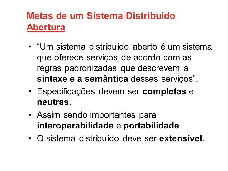 """Metas de um Sistema Distribuído Abertura •""""Um sistema distribuído aberto é um sistema que oferece serviços de acordo com as regras padronizadas que de"""