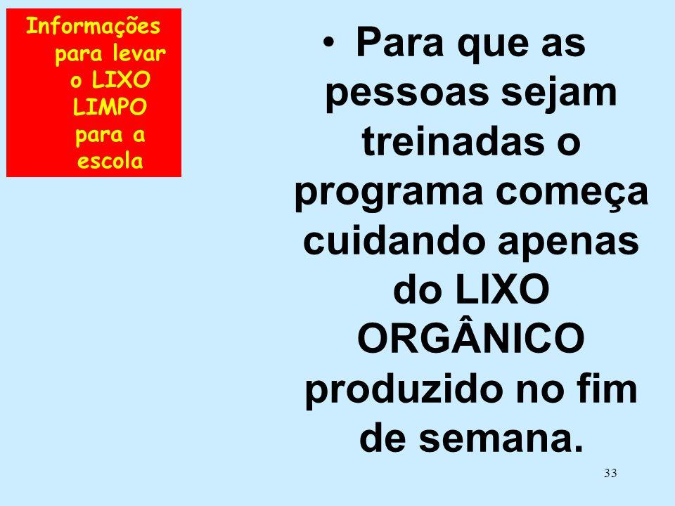 33 Informações para levar o LIXO LIMPO para a escola •Para que as pessoas sejam treinadas o programa começa cuidando apenas do LIXO ORGÂNICO produzido