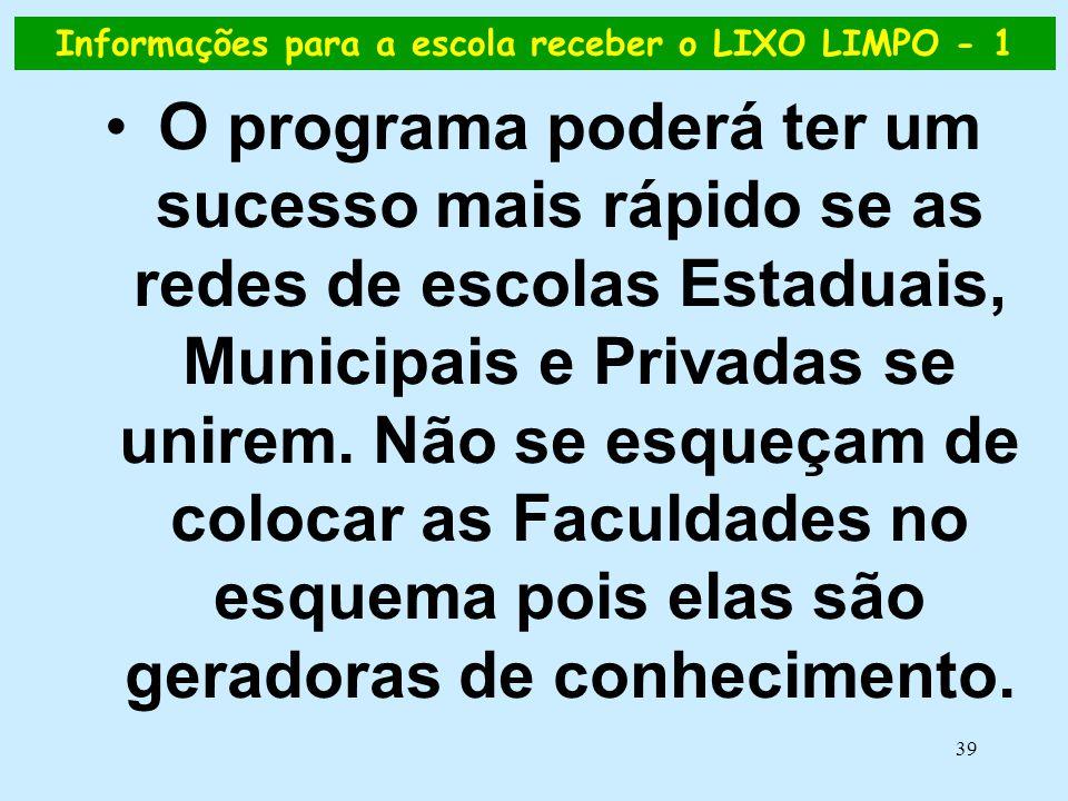 39 Informações para a escola receber o LIXO LIMPO - 1 •O programa poderá ter um sucesso mais rápido se as redes de escolas Estaduais, Municipais e Pri