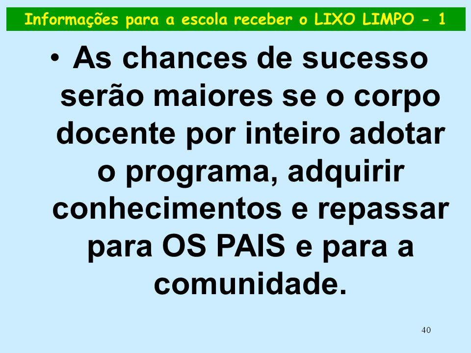 40 Informações para a escola receber o LIXO LIMPO - 1 •As chances de sucesso serão maiores se o corpo docente por inteiro adotar o programa, adquirir