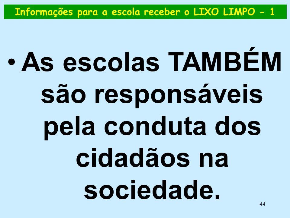 44 Informações para a escola receber o LIXO LIMPO - 1 •As escolas TAMBÉM são responsáveis pela conduta dos cidadãos na sociedade.